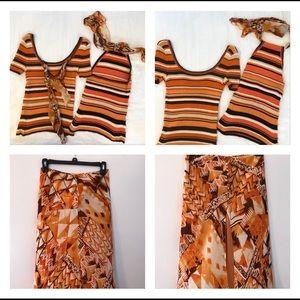 Escada silk skirt and tops, EUC